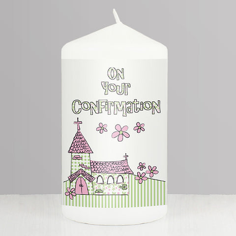 Pink Confirmation Church Candle | ShaneToddGifts.co.uk