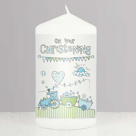 Buy Whimsical Train Christening Candle