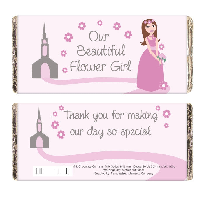 Fabulous Flower Girl Milk Chocolate Bar, Food Items by Low Cost Gifts