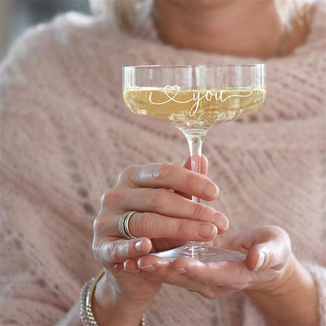 'I Love You' Champagne Coupe Glass