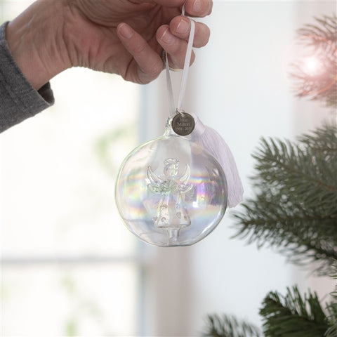 Personalised Angel Memory Glass Bauble