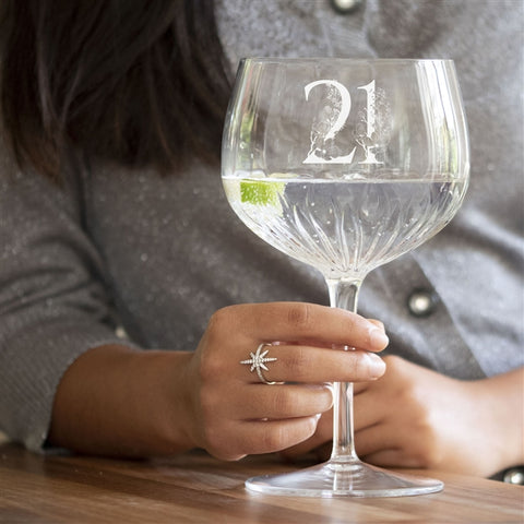 Special Milestone Crystal Cut Gin Glass
