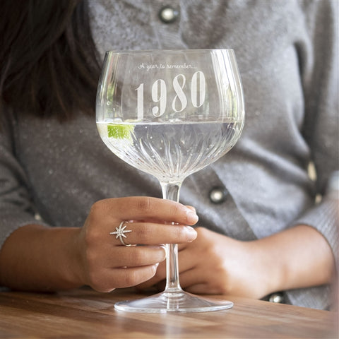 Year To Remember Crystal Cut Gin Glass