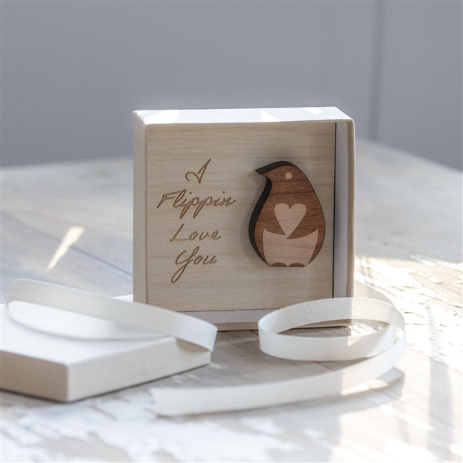 Boxed Flippin Love You Wooden Penguin, Art & Crafting Materials by Gifts24-7