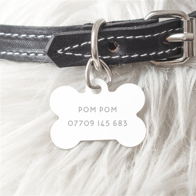Steel Dog Bone Dog ID Tag, Pet ID Tags by Low Cost Gifts