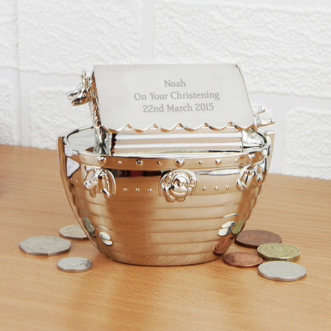 Buy Personalised Silver Noahs Ark Money Box