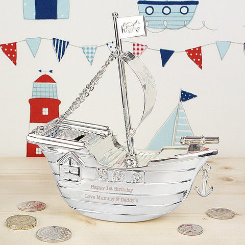 Buy Personalised Pirate Ship Money Box