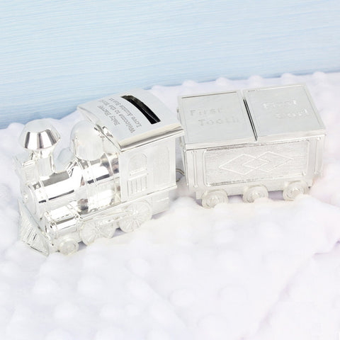 Train Money Box with Tooth & Curl Trinket Box - Next Day Delivery