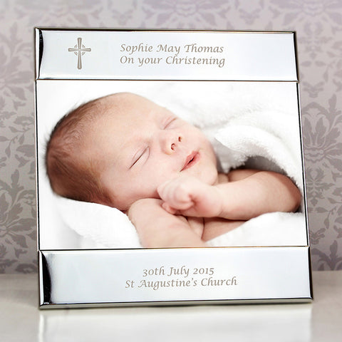 Buy Personalised Silver Cross Square 6x4 Photo Frame