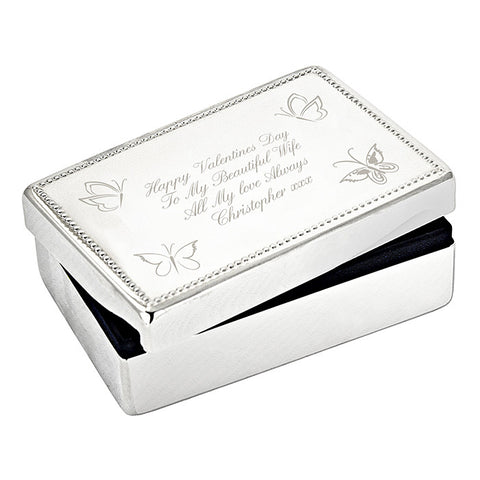 Buy Personalised Butterfly Rectangular Jewellery Box