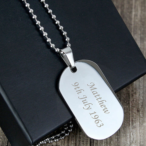Buy Personalised Stainless Steel Dog Tag Necklace
