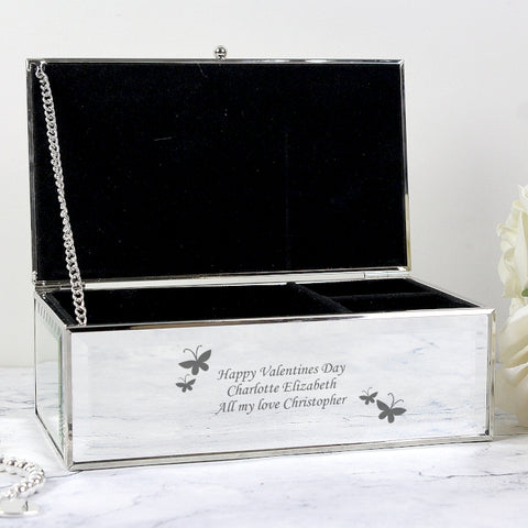 Personalised Butterflies Mirrored Jewellery Box | ShaneToddGifts.co.uk