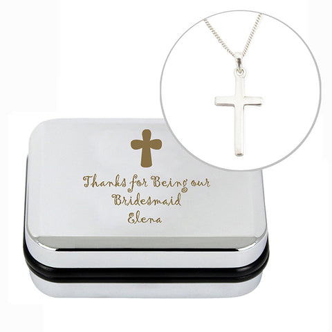 Buy Personalised Cross Necklace and Box