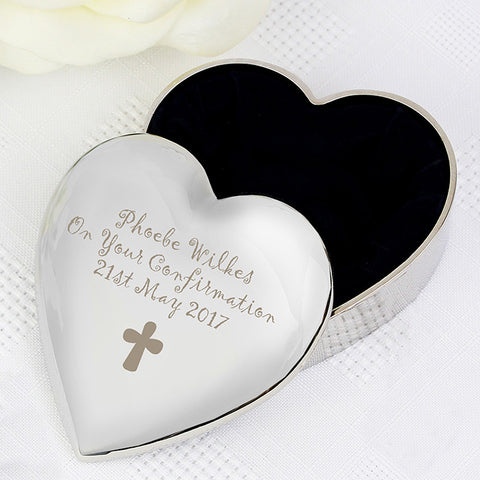 Buy Personalised Cross Heart Trinket Box