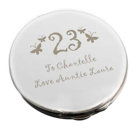Personalised Butterfly Age Round Compact Mirror | ShaneToddGifts.co.uk