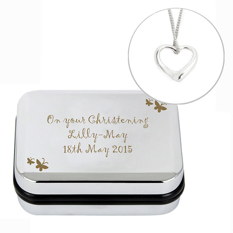 Buy Personalised Butterfly Heart Necklace and Box