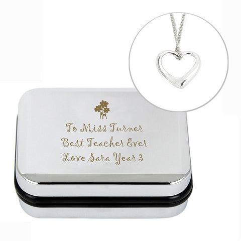 Personalised Heart Necklace and Box | ShaneToddGifts.co.uk