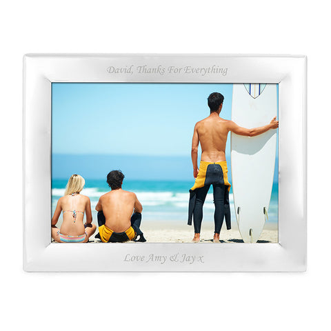 Personalised Silver Plated 5x7 Landscape Photo Frame - Shane Todd Gifts UK