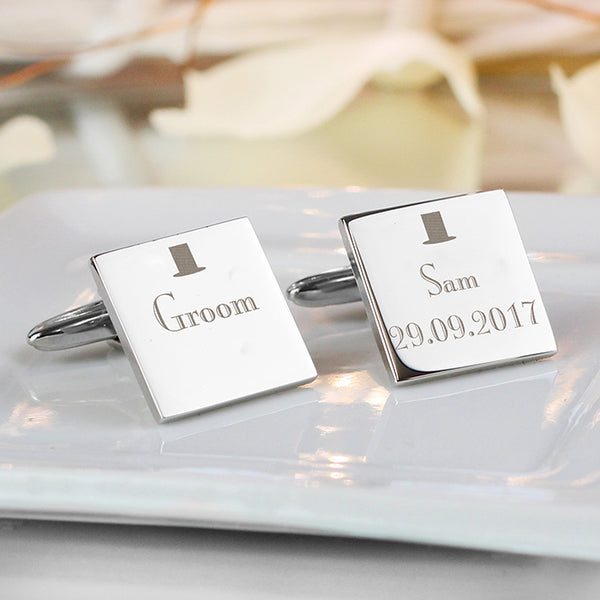 Personalised Decorative Wedding Groom Square Cufflinks