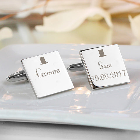 Buy Personalised Decorative Wedding Groom Square Cufflinks