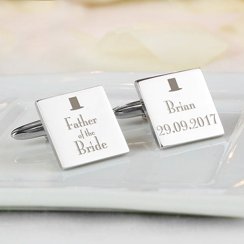 Buy Personalised Decorative Wedding Father of the Bride Square Cufflinks