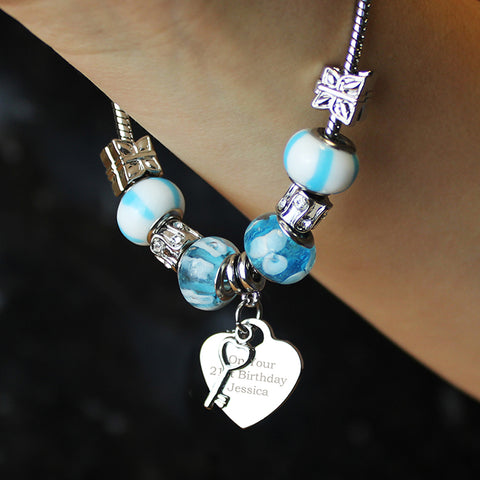 Personalised Key Charm Bracelet - Sky Blue - 18cm