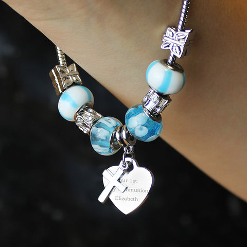 Personalised Cross Charm Bracelet - Sky Blue - 21cm