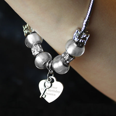 Buy Personalised Key Charm Bracelet - Ice White  - 21cm