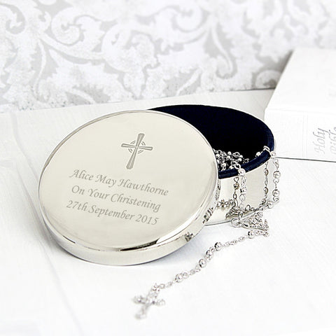 Buy Personalised Rosary Beads and Cross Round Trinket Box
