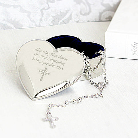 Buy Personalised Rosary Beads and Cross Heart Trinket Box