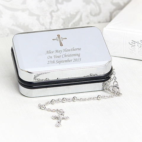 Buy Personalised Rosary Beads and Cross Trinket Box