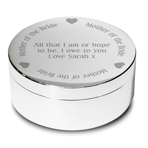 Personalised Mother of the Bride Round Trinket Box - Shane Todd Gifts UK