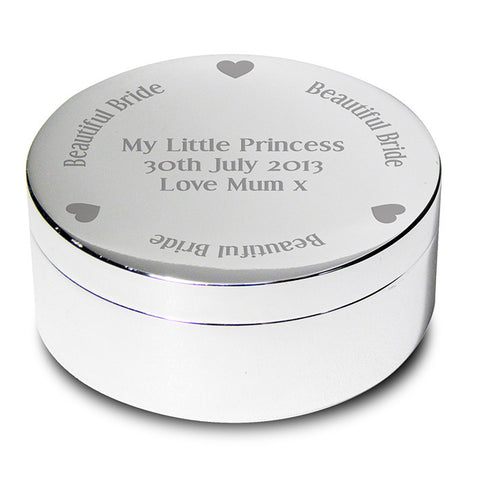 Buy Personalised Beautiful Bride Round Trinket Box