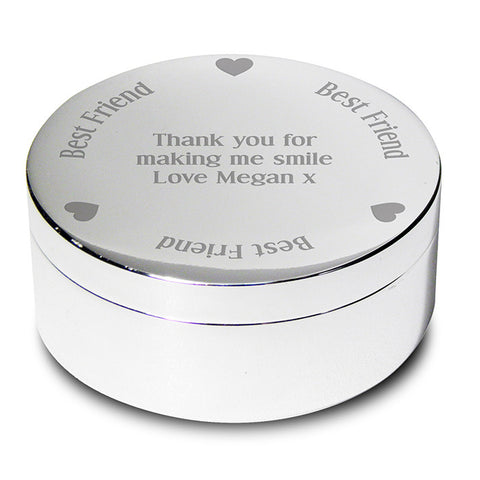 Personalised Best Friend Round Trinket Box | ShaneToddGifts.co.uk