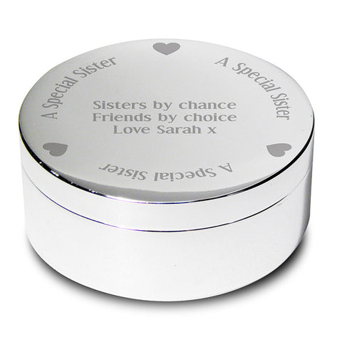 Buy Personalised A Special Sister Round Trinket Box