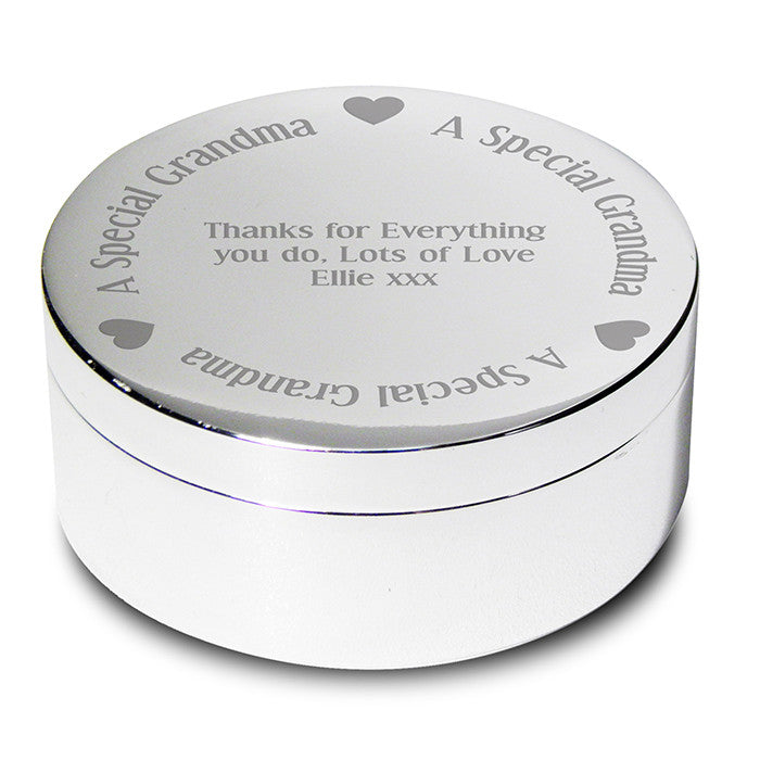 Buy Personalised A Special Grandma Round Trinket Box