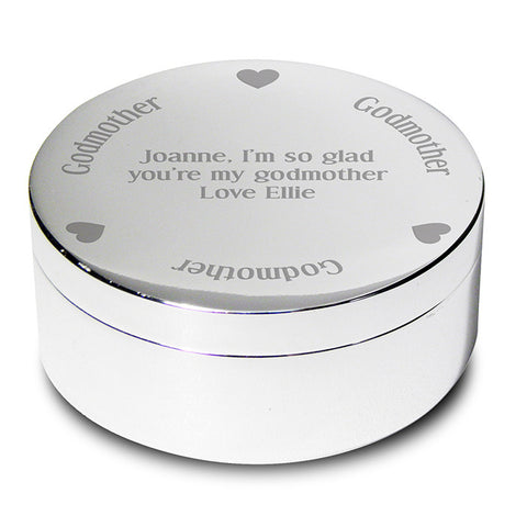 Buy Personalised Godmother Round Trinket Box