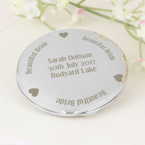 Personalised Beautiful Bride Compact Mirror - Shane Todd Gifts UK