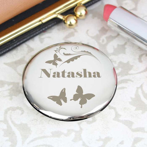 Buy Personalised Butterfly Swirl Compact Mirror