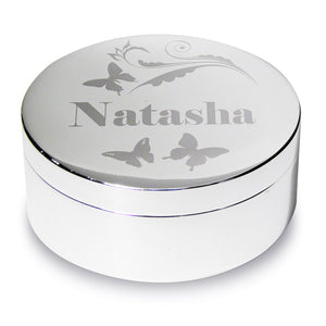 Personalised Butterfly Swirl Round Trinket Box
