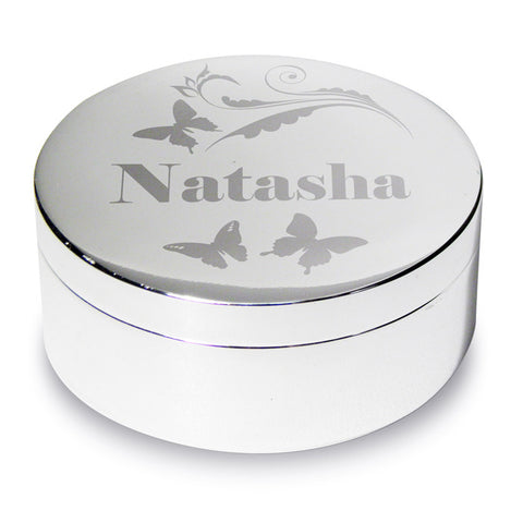 Buy Personalised Butterfly Swirl Round Trinket Box