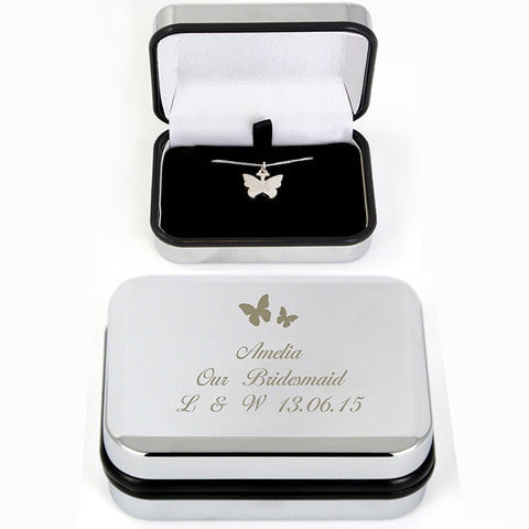 Buy Personalised Butterfly Swirl Necklace in Box