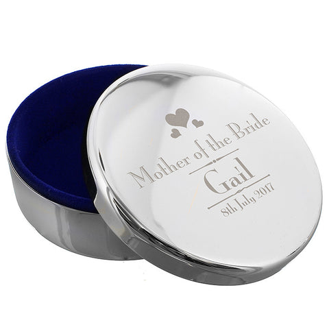 Personalised Decorative Wedding Mother of the Bride Round Trinket Box - Shane Todd Gifts UK