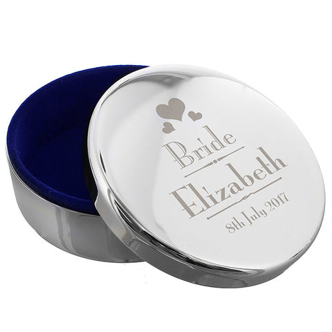 Personalised Decorative Wedding Bride Round Trinket Box - Shane Todd Gifts UK