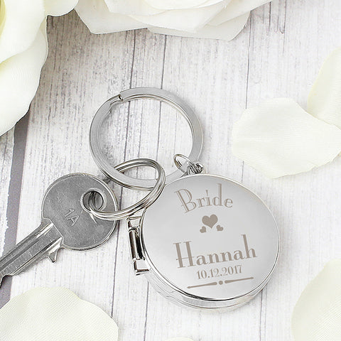 Buy Personalised Decorative Wedding Bride Round Photo Keyring