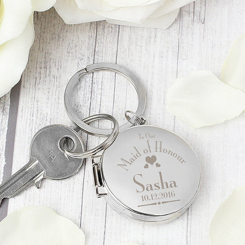 Buy Personalised Decorative Wedding Maid of Honour Round Photo Keyring