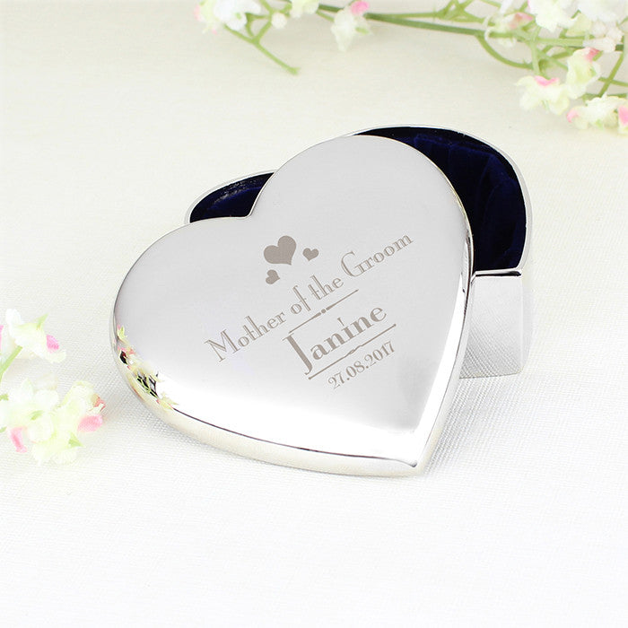 Personalised Decorative Wedding Mother of the Groom Heart Trinket Box, Health & Beauty by Low Cost Gifts