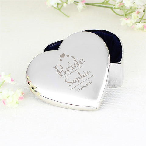 Buy Personalised Decorative Wedding Bride Heart Trinket Box