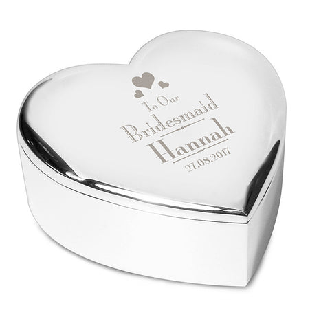 Buy Personalised Decorative Wedding Bridesmaid Heart Trinket Box
