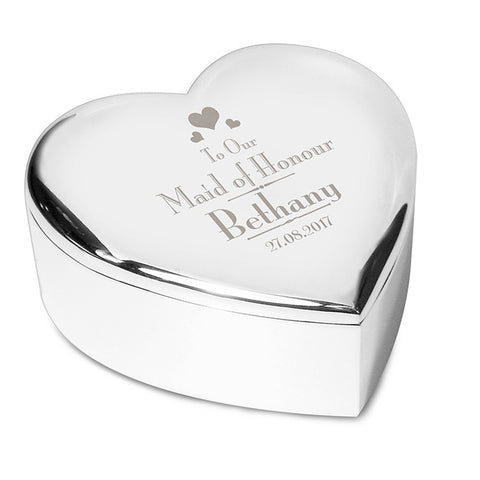Buy Personalised Decorative Wedding Maid of Honour Heart Trinket Box